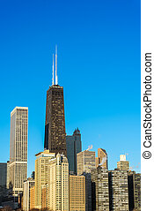 Vertical Chicago Cityscape - Vertical view of skyscrapers in...