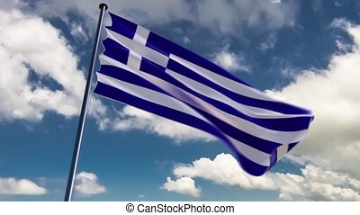 Greece Flag, HQ animated, neutral