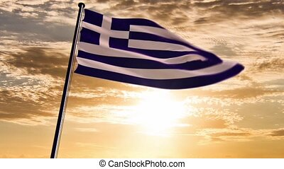 Greece Flag, HQ animated, sunset