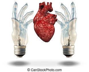 Two hand shaped light bulbs frame human heart