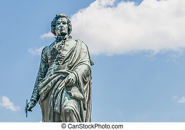 Mozart statue on Mozart Square Mozartplatz located at...