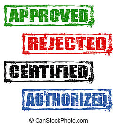 Approved, rejected, certified and authorized stamps - Rubber...