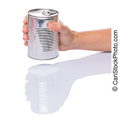 Holding a Tin Can - Female hands holding a tin can