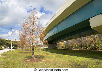 Exit ramp off Interstate 4 in Orlando, Florida. Image is...