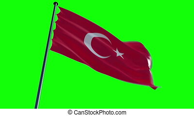 Turkey Flag with greenscreen and al - ready to use animation...