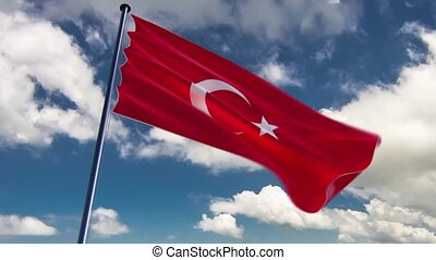 Turkey Flag, HQ animated, neutral - ready to use animation...