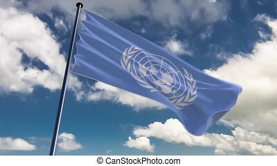 UN Flag, HQ animated, neutral - ready to use animation of...
