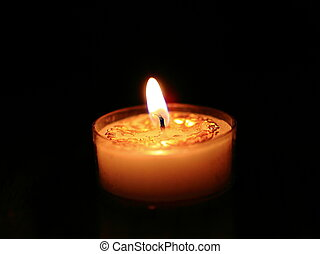 The candle, flame, black background, reflection, fire,