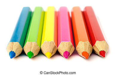colour pencils - close up of colour pencils isolated on...