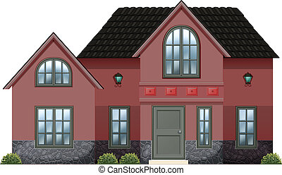A red concrete house - Illustration of a red concrete house...