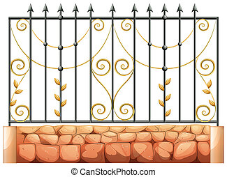 A gate made of pointed steel - Illustration of a gate made...