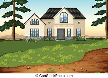 A big concrete single detached house - Illustration of a big...