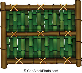 A fence made of bamboo - Illustration of a fence made of...