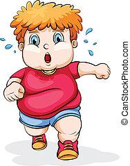 A fat Caucasian kid running - Illustration of a fat...