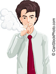 A man smoking - Illustration of a man smoking on a white...