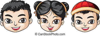 Three heads of Asian people - Illustration of the three...