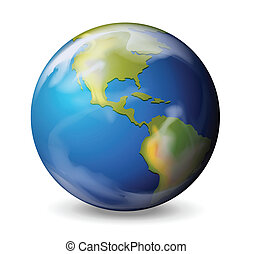 Blue marble - Earth - Illustration of the Earth on a white...