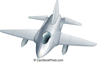 A gray fighter jet
