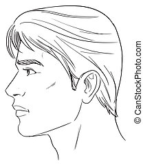 Male head - Outline side profile of a human male head