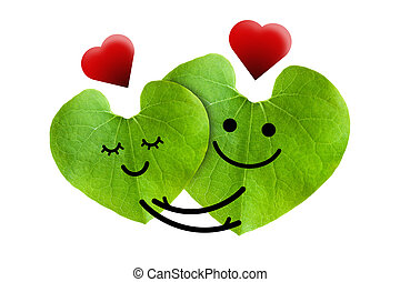 Cute couple in love with red heart, isolated with clipping...
