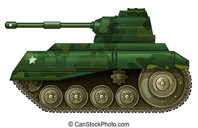 A military tank - Illustration of a military tank on a white...