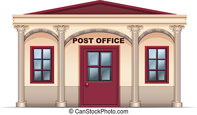 A post office - Illustration of a post office on a white...