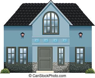 A blue single detached house - Illustration of a blue single...