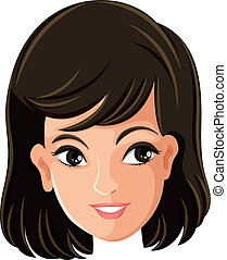 A females face - Illustration of a females face on a white...