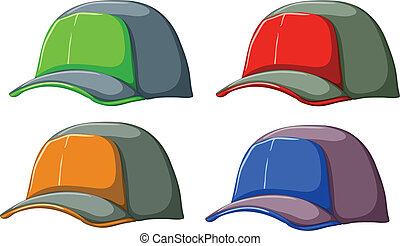 Baseball caps - Illustration of the baseball caps on a white...