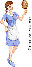 A house servant - Illustration of a house servant on a white...