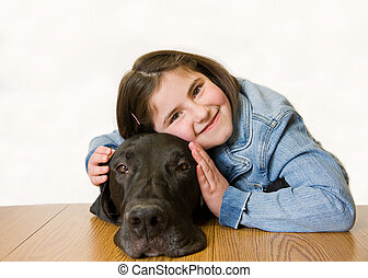 Little Girl With Her Dog - Little Girl With Her Great Dane