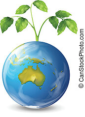 Planet earth with a growing green plant