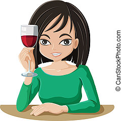 A woman drinking wine - Illustration of a woman drinking...