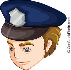 A policeman - Illustration of a policeman on a white...