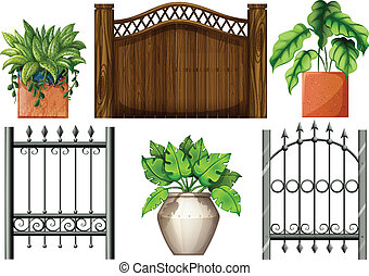 Fences and plants - Illustration of the fences and plants on...