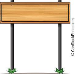 A rectangular wooden signboard