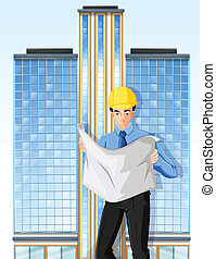 An engineer in front of a tall building