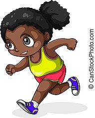 A black girl running - Illustration of a black girl running...