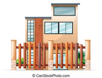 A gated building - Illustration of a gated building on a...