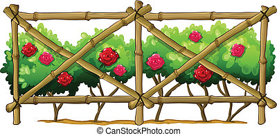 A bamboo fence with flowering plants - Illustration of a...