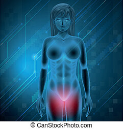 Female menstrual pain - Illustration showing menstrual pain