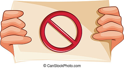 A banned sign - Illustration of a banned sign on a white...