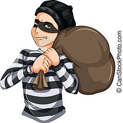 Robbery - Illustration of a Robbery on a white background