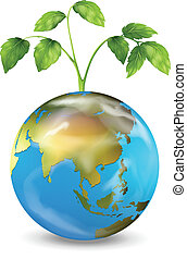 Earth with a growing plant - Illustration of the Earth with...