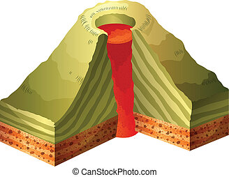 A cross-section of the volcano - Illustration of a...