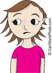 concerned looking girl - cartoon girl illustration in pink...