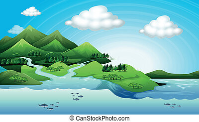 Land and water resources - Illustration of the land and...