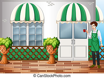 A barista in front of the coffeehouse - Illustration of a...