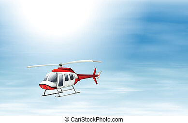 A sky with a chopper flying - Illustration of a sky with a...