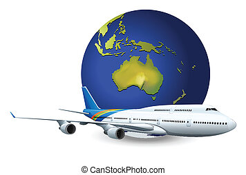 Earth globe and airplane - Illustration of travel concept -...
